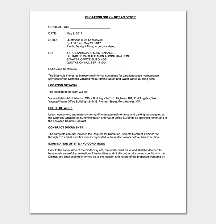 Contractor Quotation Template 16 Samples Formats Forms