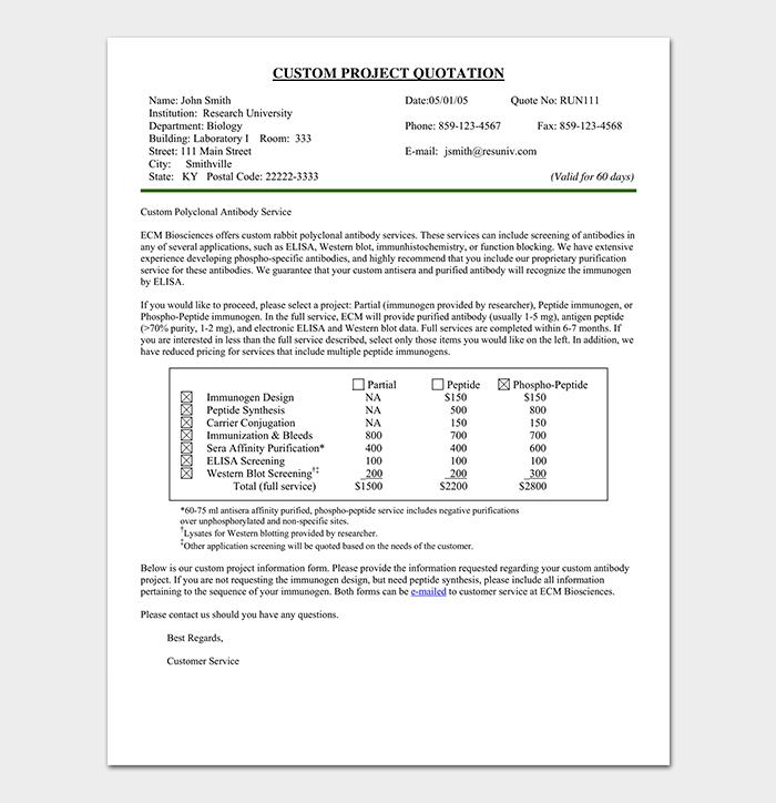 project quotation template - 18   doc  u0026 pdf